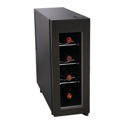 Curtis - Igloo Wine Cooler 4 Bottle - Igloo 4-Bottle Wine Cooler is perfect for any wine enthusiast.  The sleek design will fit in with any decor and the four-bottle capacity will ensure that you will always have your favorite wine chilled.  Igloo 4-Bottle Wine Cooler: 4-bottle capacity.  Vertical design Chrome racks.  Temperature control Glass door - Black