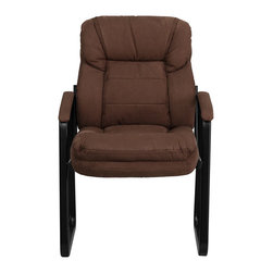 Flash Furniture - Brown Microfiber Executive Side Chair with Sled Base - This microfiber reception chair is the perfect way to greet your patients or clients in your waiting room or reception area. This chair also makes a great side office chair that will provide your guests with extra comfort with the double padded back and seat.