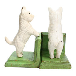 HomArt Cast Iron Standing Westie Bookends, White/Green