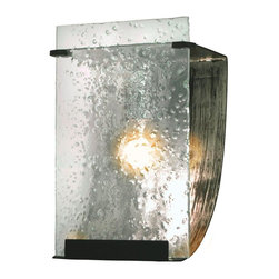 Varaluz - Varaluz Bathroom Lighting Rain 1-Light Rainy Night Bath Vanity Light with - Shop for Lighting & Ceiling Fans at The Home Depot. We loved sudden summer afternoon thunderstorms while growing up. There's nothing quite so relaxing as seeing and hearing the rain pelt against the window panes and on the tin roof (rusted!). To recreate the impression of beads of rain upon a window we hand press the glass. The Rainy Night finish is made from streaking an eggplant-black glaze over silver. Hammered Ore is also now available as a standard finish for more rustic settings.
