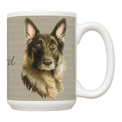 510-Shepherd Mug - 15 oz. Ceramic Mug. Dishwasher and microwave safe It has a large handle that's easy to hold.  Makes a great gift!
