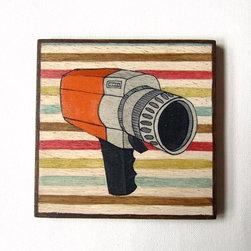 Vintage Electronics Video Camera Original painting on Art blocks for Wall Decor - Lunartics Art & Vintage Studio