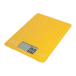 Escali Arti Kitchen Scale Solar Yellow - The Escali Arti Scale - the new standard in kitchen scales. Capable of weighing liquid and dry ingredients up to an astounding 15 lbs with an accuracy of 0.1 ounces or 1 gram. The Arti's list of features is long and loaded with value. Its crisp and clear display which is 50% larger than commonly found on a kitchen scale sits between the user friendly touch sensitive controls and results in a single smooth glass surface that is not only beautiful but incredibly functional.
