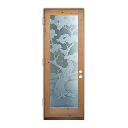 Sans Soucie Art Glass (door frame material T.M. Cobb) - Glass Front Entry Door Sans Soucie Art Glass Bonsai 2D Private - Sans Soucie Art Glass Front Door with Sandblast Etched Glass Design. Get the privacy you need without blocking the light, thru beautiful works of etched glass art by Sans Soucie!  This glass is semi-private.  (Photo is view from outside the home or building.)  Door material will be unfinished, ready for paint or stain.  Bronze Sill, Sweep and Hinges. Available in other sizes, swing directions and door materials.  Dual Pane Tempered Safety Glass.  Cleaning is the same as regular clear glass. Use glass cleaner and a soft cloth.