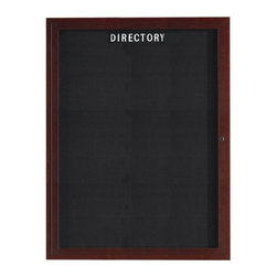 """AARCO - Enclosed Aluminum Directory with Wood Look Finish - Features: -Enclosed letter board. -Aluminum wood look finish. -Frame construction: Aluminum. -The black felt covered grooved rear panel for changing letters with tabs spaced on 0.25"""" centers. -Acrylic safety glass windows. -Comes with lockable doors, continuous hinges and concealed mounting brackets. -Made in USA. -Manufacturer provides one year warranty for the replacement of board/cabinet components."""