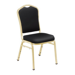 National Public Seating - Silhouette Stacking Chair w Back - Set of 2 - With protective, self-leveling glides, this stacking chair set preserves any floor surface. Plus, they easily stack and relocate with built-in handles on back. Set of 4 chairs have hunter green vinyl upholstery for soft, superior support. Gold-tone metal frames complete the look. Set of 2. Concealed double back for refined look. Double stitched box seat. Self-leveling double flower scuff floor resistant glides. Built-in bar and 12 plastic stack bumpers help prevent wear and tear. Waterfall seat padded with 2 in. of 1.8 lbs. high density grade A foam. Institutional grade teflon treated fabrics rated to 30,000 double rubs and thick 0.80 MM vinyl. Fabric and foam are Cal-117 rated. Meets ANSI and BIFMA standards. Steel contains 30-40% of post-consumer waste (recycled). Stack upto 8-10. Warranty: Five years for material. Made from rugged 0.88 in. square 18-gauge steel tubing. 17 in. W x 23 in. D x 36 in. H