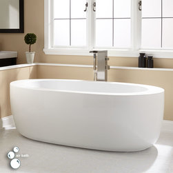 """69"""" Hannah Acrylic Freestanding Air Tub - The Hannah acrylic air tub has a contemporary design that makes it a great centerpiece for a modern bathroom. It features a therapeutic air massage system for a peaceful, calming bath experience."""
