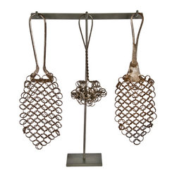 "Salvatecture Studio - Set of Three Antique Chain Mail Pot Scrubbers on Stand #2 - Set of three antique chain mail pot scrubbers displayed on a reclaimed iron stand.  12""h x 12""w x 3""d. Due to the limited nature and age of vintage accessories, this item is non-returnable."