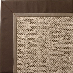 Frontgate - Outdoor Parkdale Rug in Sunbrella Brown White Wicker - 5' x 8' - Wicker-textured base is woven in soft and durable olefin. Cleans with soap and water. Sunbrella® fabric is resistant to fading, staining, and mildew. Rug pad recommended (sold separately). Made in the USA. Our Parkdale Rug with colorful borders matches the premium all-weather fabrics featured on our replacement cushions, pillows, draperies, and umbrellas. This all-weather rug will work just as beautifully indoors as it does outside. . . Sunbrella fabric is resistant to fading, staining, and mildew. . .