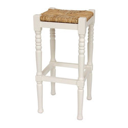 "Oriental Furniture - 29"" Classic Woven Top Barstool - White - Sturdy square barstool, with a rustic woven rush grass seat. Rung adds stability to the lathed legs, as well as providing a foot rest. Order one for next to a telephone or writing table, or a set of three or four for a kitchen breakfast counter or family room wet bar."