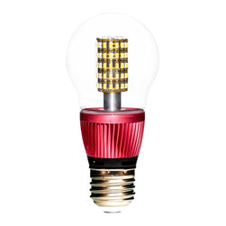 EfficientNow Inc. - Pearl50, A19-Edison LED Bulb, 6 Units, Clear, Dimmable - Pearl50 Clear A19-Edison Designer LED Bulb with SureGuard, Red radiatior, Number of Pearls: 6