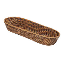 Kouboo - Rattan Bread Basket - For a nice presentation at your dinner table put all your breads whether it is an entire loaf, french baguette, bagels or croissants into this hand-woven rattan basket. When entertaining handing around a basket or replenishing it for your guests is so much easier with the help this sturdy helper.1 year limited warranty.