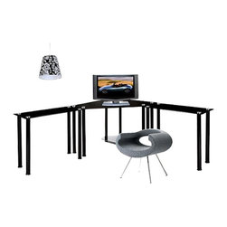 RTA Home and Office - Large Corner Black Glass Computer Desk - CT-013LRB - Shop for Desks from Hayneedle.com! The RTA Home and Office Corner Black Work Center will surround you with functional space and sophisticated modern style. The corner desk design maximizes space usage in your office providing the perfect spot for your monitor. A bottom shelf is designed for your CPU. Two extra tables extend on either side drastically increasing your useable work space and keeping everything you need easily accessible. Made of thick black tempered glass shelves supported by round aluminum tubes this versatile desk has a unique contemporary look that speaks to your high-tech tendencies. This desk is easy to assemble and backed by a one-year limited warranty.About RTA Home and OfficeIf you've decided to outfit your home or office with sleek modern style look no further than the RTA Home and Office product line. Based in Springfield Missouri RTA Home and Office Inc. was founded in 2001 and specializes in the manufacturing and distribution of high-quality tempered glass and polished aluminum TV stands desks and tables. All of the tempered glass shelves table tops and desk tops have smooth rounded edges for safety. Incredibly strong and durable these strikingly contemporary pieces will add high-tech style and design to a variety of home settings.
