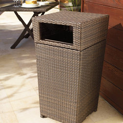 Frontgate - Woven Waste Bin - Highly durable resin weave. Resists fading and splintering. Sturdy powdercoated aluminum frame. Lift-off lid. Removable 24-gallon mesh insert. Handsome, all-weather Woven Waste Bin is the perfect disguise for the oft-unsightly waste can. The tightly woven bronze fibers are an ideal complement to your outdoor wicker furniture.  .  .  .  .  . Nonskid base .