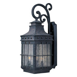 Joshua Marshal - Three Light Country Forge Seedy Glass Wall Lantern - Three Light Country Forge Seedy Glass Wall Lantern