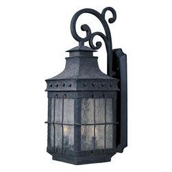 Joshua Marshal - Three Light Country Forge Seedy Glass Wall Lantern - Three Light Country Forge Seedy Glass Wall Lantern
