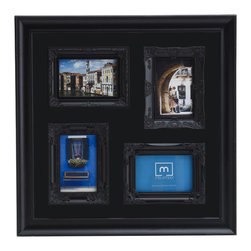 Melannco - Melannco 20-inch 4-opening Black Collage Photo Frame - Display your favorite photos of friends,family and more with this trendy Melannco wall frame. Finished in a fashionable black color,this unique frame features four openings for your favorite 4x6-inch or 6x4-inch photos.