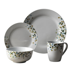 Tabletops Unlimited - 16 Piece Cadiff Dinnerware Set - Dishwasher Safe.  Microwave Safe.  Oven Safe up to 400 °F. Material: Porcelain . (4) 10.5 in. Dinner. (4) 7.5 in. Salad. (4) 5 in. Cereal. (4) 12oz MugCadiff is strong enough for everyday use, yet fashionable enough for casual dining and entertaining. Classic round bodies showcase fresh contemporary design for a touch of class that complements any table setting and presents beautifully.