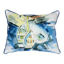 Betsy Drake - Betsy Drake Three Row Boats Pillow- Indoor/Outdoor - Three Row Boats Pillow- Large indoor/outdoor pillow. These versatile pillows are equal at enhancing your homes seaside decor and adding coastal charm to an outdoor setting arrangment. They feature printed outdoor, fade resistant fabric for years of wear and enjoyment. Solid back, polyfill. Proudly made in the USA.