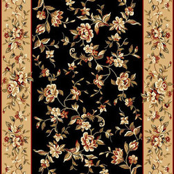 """KAS - KAS Cambridge 7336 Floral Delight (Black, Beige) 5'3"""" x 7'7"""" Rug - Our Cambridge Series is machine-woven in China of heat-set polypropelene. This line features a current color palette in classic and transitional patterns providing a well-designed and durable rug at a very affordable price point. No fringe."""