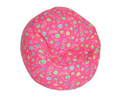 Elite Products - Juvenile Jr. Lightweight Print Bean Bag - This child's bean bag chair adds flower power with its pink vinyl fabric that has a colorful flower theme.  Bean bag is filled with polystyrene beads that can be replaced by an adult when needed.  Child lock on zipper pulls helps avoid pinched fingers. * Long lasting and durable. Double stitched with double overlap folded seam. Double zippered bottom for added security. Childproof safety lock zippers (pulls have been removed). Can easily be refilled by an adult. Easy to clean. Recommended seating age: Toddler up to 5 years old. Warranty: One year limited. Made from polycotton blend and polystyrene bead. Made in USA. 28 in. L x 27.5 in. W x 21 in. H (4 lbs.)