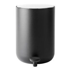 Menu - Menu Bath Pedal Bin by Menu - A trash bin that's lovely to look at. The Menu Bath Pedal Bin has smooth, minimalist lines, and, despite its rounded form, is stable and does not skid across the floor. The bin itself is powder coated steel, topped by a brushed steel lid. The lid opens at the slightest touch of the pedal, and does so without striking the wall behind it. Menu, headquartered in Denmark, partners with designers to develop and produce a broad assortment of Scandinavian living accessories for the dining room, living room, kitchen, and garden.