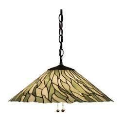Meyda Tiffany - Meyda Tiffany Jadestones Pendant Lighting Fixture - Shown in picture: Jadestone Willow Pendant; Thinly Carved And Polished Natural Jadestone In Earthy Tones Of Moss Green - And Ivory - Become Luminescent In This Wispy Willow Leaf Patterned Shade. The Stone Shade Is Crafted With The Same Copperfoil Process That Is Used On Stained Glass - Tiffany Style Shades. A Mahogany Bronze Finished Canopy And Chain Completes This Handsome Pendant.; Smallest height shown - expandable from 12.5-47.5.