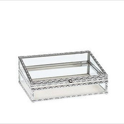 """Antique-Silver Jewelry Box, Small - Modeled after museum display cases, these Antique Silver Jewelry Boxes are designed to showcase your most beautiful jewelry and collectibles from every angle. With heirloom-quality workmanship, both styles feature intricate designs created by a punched-metal technique. Small: 9"""" wide x 6"""" deep x 3.5"""" high Large: 13.5"""" wide x 10"""" deep x 5"""" high Embossed-steel metal frame has a silver-plated finish. Lined with ivory linen. Monogramming is available for an additional charge. Inserts not included."""