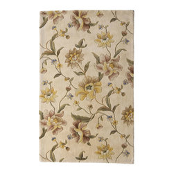Rugs America - Flora Country White Rectangular: 5 Ft. x 8 Ft. Rug - - The Flora Collection is a decorative masterpiece, setting a new standard in the Country Floral category. Elegant, comfortable styles have been paired with a rich color palette to create the perfect balance between the traditional and transitional worlds. Made in China with premium wools, this luxurious collection is hand crafted and carved into a soft plush wool pile.  - Hand Crafted, 100% Wool, No Fringe  - Pile Height: 0. 75 Rugs America - 23258