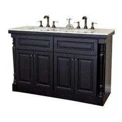 """Bellaterra Home - 55 Inch Double Sink Vanity-Dark Mahogany - This stunning double bathroom vanity with beautiful hand carved column legs that are sure to become the showpiece of your home. The vanity is built with solid birch wood and plywood on the sides and drawer boxes, built with precise furniture quality integrated rabbet joinery. High quality commercial glue as well as mechanical fasteners combines to create optimal strength and stability. This vanity features raised door and drawer panels in rich mahogany finish, installed with soft close hinges and drawer glides. To optimize storage, there are two tiered corner shelves, to be placed behind the cabinet doors. This makes storing all the necessary items for a bathroom so much easier. In addition, there is an optional extension that allows for one or two extra cabinets. With this extension, this double vanity can go up to 93"""" wide. This vanity blends flawless classic styles with modern functions, resulting in a simply amazing, one-of-a-kind vanity."""