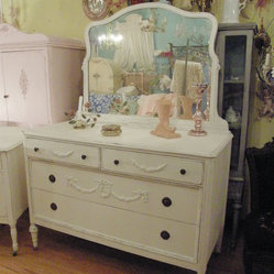 antique dresser white shabby chic distressed appliques swags roses mirror