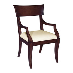 EuroLux Home - New Dining Arm Chair Beige  Umber Finish - Product Details