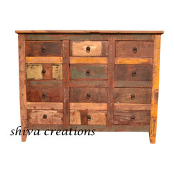 Reclaimed wood 12 drawer chest India - Shiva Creations is a part of SHIVA Groups, a Jodhpur based Indian wooden furniture manufacturer and Indian furniture exporter. Jodhpur, the second largest city of Rajasthan is world famous for its arts and handicrafts. Jodhpur has been epicenters of Indian handicrafts, Indian style furniture sets and many more wooden products woven integrally with tourism to embrace the mundane visitors and tourists. With centuries passing by into deep transformation, but there has been enough time to recall Jodhpur for its vast reservoir of wooden handicrafts.