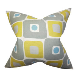 "The Pillow Collection - Delight Geometric Pillow Yellow 20"" x 20"" - Pick up one or two of this gorgeous accent pillow and give your room an instant lift. This throw pillow features a unique geometric pattern in yellow, gray and blue hues. Mix and match with solids and other patterns for a personalized decor look. Constructed in the USA and 100% cotton-made. Hidden zipper closure for easy cover removal.  Knife edge finish on all four sides.  Reversible pillow with the same fabric on the back side.  Spot cleaning suggested."