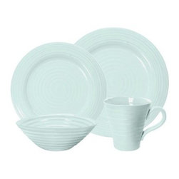 Sophie Conran Celadon 4 pc. Place Setting - Create the stylish spread you've always pictured with the Sophie Conran Celadon 4 pc. Place Setting. This lovely color-coordinated set is simple, yet stylish. Constructed of durable porcelain, each versatile piece is safe for the freezer, oven, microwave, and dishwasher, making the menu possibilities endless.About PortmeirionStrikingly beautiful, eminently practical, refreshingly affordable. These are the enduring values bequeathed to Portmeirion by its legendary co-founder and designer, Susan Williams-Ellis. Her father, architect Sir Clough Williams-Ellis, was the designer of Portmeirion, the North Wales village whose fanciful architecture has drawn tourists and artists from around the world (including the creators of the classic 1960s TV show The Prisoner). Inspired by her fine arts training and creation of ceramic gifts for the village's gift shop, Susan Williams-Ellis (along with her husband Euan Cooper-Willis) founded Portmeirion Pottery in 1960. After 50+ years of innovation, the Portmeirion Group is not only an icon of British design, but also a testament to the extraordinarily creative life of Susan Williams-Ellis.The style of Portmeirion dinnerware and serveware is marked by a passion for both pottery manufacturing and trend-setting design. Beautiful, tactile, nature-inspired patterns are a defining quality of Portmeirion housewares, from its world-renowned botanical designs modeled on antiquarian books to the breezy, natural colors of its porcelain and earthenware. Today, the Portmeirion Group's design legacy continues to evolve, through iconic brands such as Spode, the Pomona Classics collection, and the award-winning collaboration of Sophie Conran for Portmeirion. Sophie Conran for Portmeirion:Successful collaborations have provided design inspiration throughout Sophie Conran's life. Her father, designer Sir Terence Conran, and mother, food writer Caroline Conran, have been the pillars of her eclectic mix of cooking, writing, and interior design. In pairing with the iconic British housewares brand Portmeirion, Conran has created another successful collaboration: Sophie Conran for Portmeirion, an award-winning collection of dinnerware, serveware, and drinkware for the practical, multi-functional needs of contemporary kitchens.Launched in 2006, Sophie Conran for Portmeirion immediately received the Elle Deco Style Award for Best in Kitchens, and two years later, the House Beautiful Award for Best in Tableware. The soulful, tactile beauty of these oven-to-tableware pieces is exemplified by rippled surfaces and edges that evoke a potter's hand. This down-to-earth style is complemented by charming pastels, gentle earth tones, and classic whites and pinks, for a collection that will lighten and enliven contemporary kitchen decors. Though delicate to the eye and touch, these plates and bowls are built for durable performance, with microwave- and dishwasher-safe porcelain that's casual enough for breakfast and elegant enough for eye-catching dinners.