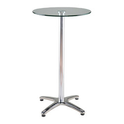 Euro Style - Euro Style Amber Bar Table // Clear Glass/Aluminum/Stainless Steel - Think Mad Men, 2013.