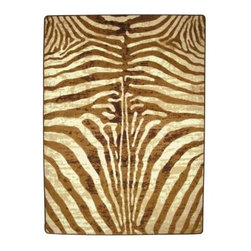 """American Dakota - Area Rug: Senegal Caramel 5' 4"""" x 7' 7"""" Zebra - Shop for Flooring at The Home Depot. The American Dakota Senegal Caramel 5 ft. 4 in. x 7 ft. 7 in. Area Rug embodies the essence of high-style. This rug can romance a living room or feature a seating area in your home. Rich hues of textured bronze, cream, bone, caramel, and dark brown. This rug s continuous-filament yarn system is fade resistant, antimicrobial and commercial grade tested for heavy traffic. Nylon is not only an economical choice but is the strongest yarn available. The durable fibers are coated with two soil lifting properties during the manufacturing process which helps the yarn shed soil. A synthetic fluoropolmer is applied to the yarn system which is also used on non-stick cookware, providing protection from everyday wear of busy families. Because of the receptacles and excellent light fastness properties in EnduraStran fibers, it is the preferred yarn for Pre-Met dyes. These favored dyes ensure deep color penetration into the fiber providing rich color luster and color fastness. The Senegal Caramel s vibrant texture and unique richness will become the focal point of your room."""