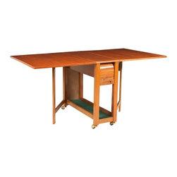 Unbranded - Mid Century Modern Walnut Tambour Door Gate Leg Chair Storage Table - • Mid Century | Danish Modern