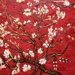 overstockArt.com - Van Gogh - Branches Of An Almond Tree In Blossom (Interpretation in Red) - Hand painted oil reproduction of a famous Van Gogh painting in an artists interpretation, Branches of an Almond Tree in Blossom. The original masterpiece was created in 1890. Today it has been carefully recreated detail by detail, color by color to near perfection. Van Gogh created this painting as a gift for his newborn nephew. The way he made is brush strokes were fitting to the baby because he combined a sense of fragility and energy. A joyous and hopeful image for the child's future. Vincent Van Gogh's restless spirit and depressive mental state fired his artistic work with great joy and, sadly, equally great despair. Known as a prolific Post-Impressionist, he produced many paintings that were heavily biographical. This work of art has the same emotions and beauty as the original. Why not grace your home with this reproduced masterpiece? It is sure to bring many admirers!