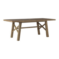 Jardine Dining Table - Set the stage for an outdoor farmhouse meal with this rustic, chunky outdoor dining table. This expansive table easily seats 8 to 10 people, and the crisscross detailing adds a geometric touch.
