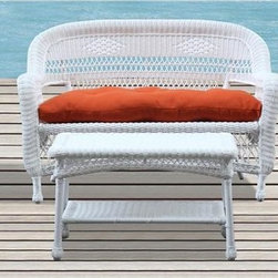 Fine Mod Imports - 4-Pc Outdoor Set with Orange Cushion - Includes loveseat, coffee table and two chairs. Contemporary style. Stain, water and oil resistant. UV, crack and split resistant. Warranty: One year. Made from weather resistant wicker. White color. No assembly requiredThe Portside outdoor set will not only be decorative on you patio but will provide much comfort as well.