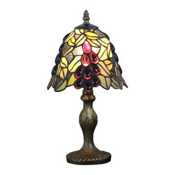 Grape Jeweled Tiffany Table Lamps Light Fixture - Inspired by Art Nouveau style lighting designs, shade of this grape jeweled Tiffany table lamp is constructed of individual pieces of stained art glass. It gives off a warm and pleasant light, helps creating a cozy environment in your bedroom by placing it on the nightstand.