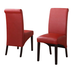 Modus Furniture - Modus Cosmo Sleigh Back Dining Side Chair in Ruby (Set of 2) - Modus Furniture - Dining Chairs - 3LP466 -In an industry dominated by varying shades of brown, the Cosmo collection from Modus Furniture is a breath of fresh air. Dining chairs and counter stools are available in an array of textured synthetic leathers to add a splash of color to any dining room. Cosmo chairs are constructed with no-sag seat cushions for extra comfort and 10 bolt grooved corner block construction for easy assembly and long term durability. Counter stools have 4 stretchers for maximum rigidity. Chair legs are built from solid poplar and are an exact match to our best-selling Bossa tables.