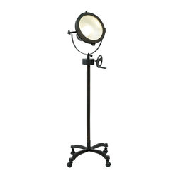 "ecWorld - Hollywood Studio Handcrafted 57"" Mobile Director's Spot Light Floor Lamp - Black - Add some Hollywood style glamour to your home with this unique handcrafted antiqued floor lamp. Dark metal finish lamp features a wheeled base for maximum mobility and a metal shade that gives it a professional movie-set look. Imported."