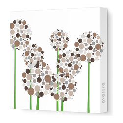 """Avalisa - Imagination - Allium Stretched Wall Art, Brown Blue, 28"""" x 28"""" - Art is the best way to add personality to your home. These clusters of multi-hued flowers would bring a pop art vibe to a blank wall and liven up your space. The stretched canvas means it's ready to hang and you don't even have to worry about framing. Ready, set, decorate!"""