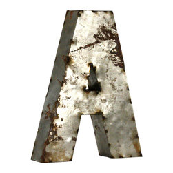 Zentique - Metal Letter A Small - Spell a favorite word or pick out your initials for a bold art installment in your home. Uppercase and lowercase letters made from recycled metal are crafted in Mexico and make for eclectic wall or garden art. The rustic design adds a playful touch to any space.