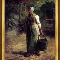 """Jean-Francois Millet-18""""x24"""" Framed Canvas - 18"""" x 24"""" Jean-Francois Millet Woman Carrying Firewood and a Pail framed premium canvas print reproduced to meet museum quality standards. Our museum quality canvas prints are produced using high-precision print technology for a more accurate reproduction printed on high quality canvas with fade-resistant, archival inks. Our progressive business model allows us to offer works of art to you at the best wholesale pricing, significantly less than art gallery prices, affordable to all. This artwork is hand stretched onto wooden stretcher bars, then mounted into our 3"""" wide gold finish frame with black panel by one of our expert framers. Our framed canvas print comes with hardware, ready to hang on your wall.  We present a comprehensive collection of exceptional canvas art reproductions by Jean-Francois Millet."""
