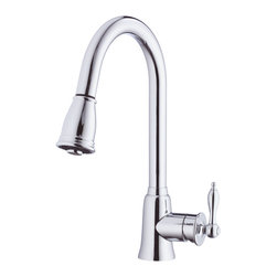 "Danze Prince™ Single handle Pull-Down Kitchen Faucet - - 16"" high swivel spout, 9 ½"" spout length, perfect for kitchen sinks with plenty of open space above."