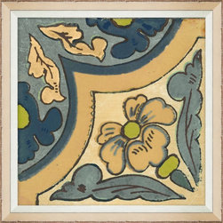 Wendover Art - Garden Tile Flower - This elegant Giclee on Paper print adds a bit of flare to any space. A beautifully framed piece of art has a huge impact on a room for relatively low cost! Many designers and home owners select art first and plan decor around it or you can add artwork to your space as a finishing touch. This spectacular print really draws your eye and can create a focal point over a piece of furniture or above a mantel. In a large room or on a large wall, combine multiple works of art to in the same style or color range to create a cohesive and stylish space!