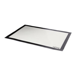 Lekue Large Silicone Baking Mat - The new Lekue large silicone baking mat is a fibreglass mat covered by liquid platinum silicone  ideal to use in the oven and as a work surface. In the oven  the mat is placed on the baking sheet under the products to be baked. The structure of the mat (silicone+fibreglass) allows for optimum distribution of heat and uniform cooking in a shorter time. Protects the baking sheet or oven tray  preventing foods from sticking and making cleaning easier. If it's use as a work surface  it's ideal for kneading because its non-stick properties reduce the need to use flour or oils.  May also be stored in the freezer  withstands temperatures between -60 DegreesC and +260&degC. Product Features            Silicone fiberglass construction             Withstands temperatures between -60 DegreesC and +260&degC            Can be used in the oven or as a work surface